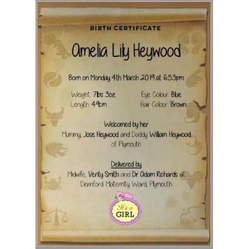 Commemorative Birth Certificate